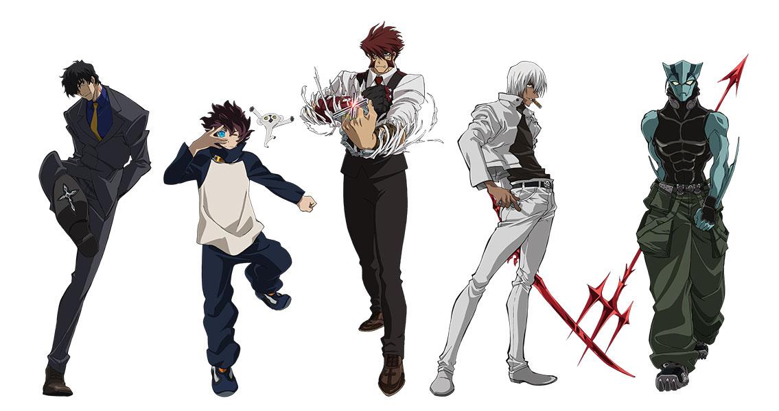 5人のキャラクターそれぞれの血界戦線のイラスト